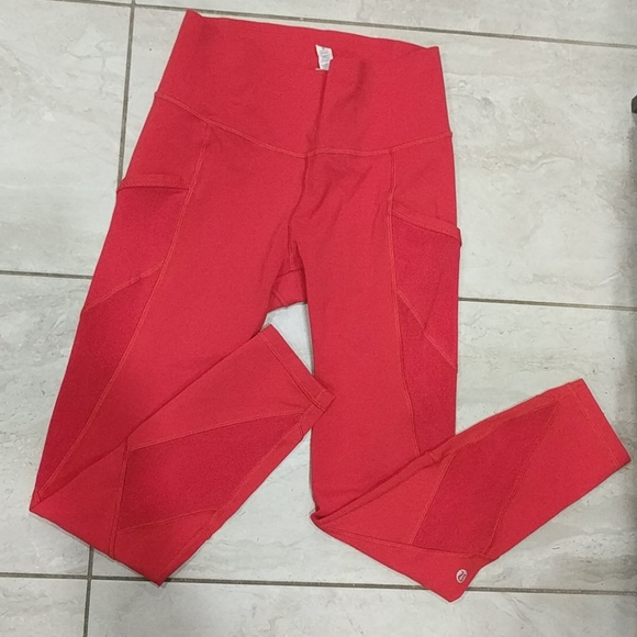 LULULEMON Red High-waisted mesh pocket leggings